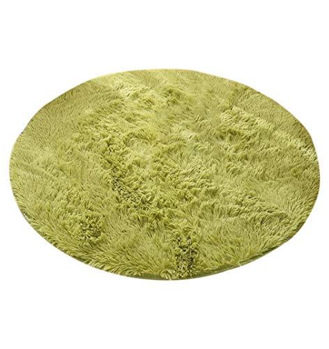 KRUIHAN Alfombra de Salón Redonda Mullida - Alfombra Shaggy de Color Sólido de Dormitorio Moderno Grande (Verde/120 * 120CM)