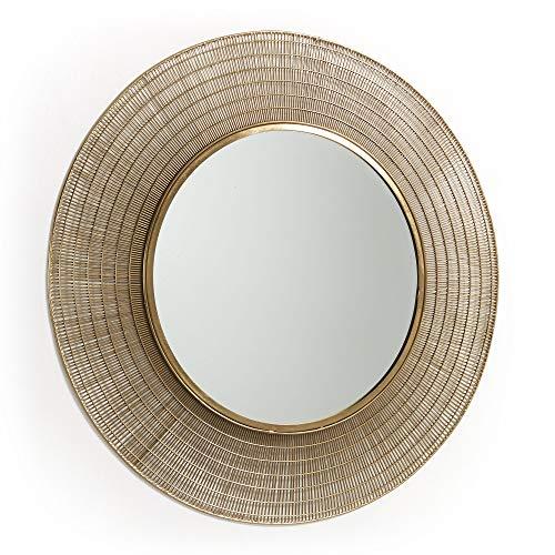 Kave Home spiegel, rond, met stalen frame, goudkleurig