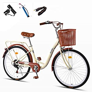 Comfort Bikes GHH 24″ City leisure Bicycle Adults, High carbon steel frame Commuter Ladies bike, Classic 7 Speed Retro bicycle & Basket Flashlight, Inflator, Anti-theft lock