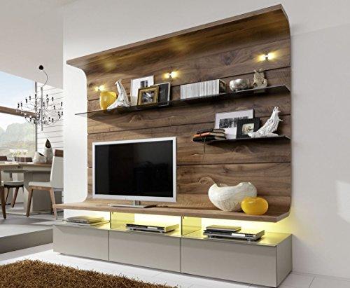 Gwinner Felino FE32 Wohn-Wand mit Beleuchtung und Vollauszügen Schrank-Wand Wohnzimmer-Möbel Nussbaum | Lack Fango Teilmassiv, Unterteil | Lowboard | Holz-Paneel Wand-Paneel Holz