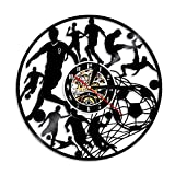 WJHXYD Horloge Murale De Football Joueurs De Football Kick Ball Net Goal Terrain De Futball