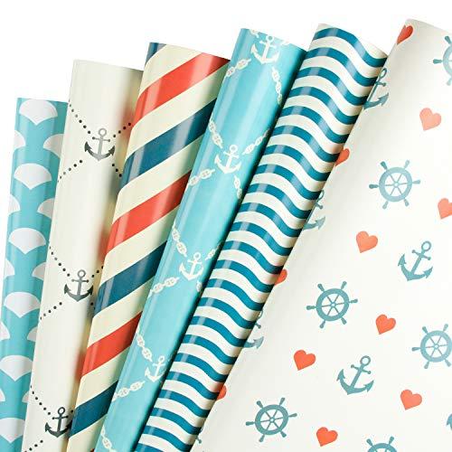 RUSPEPA Geschenkpapierblätter - Geschenk-Thema Perfekt Für Urlaub, Geburtstag, Glückwunsch, Babyparty-Geschenke - 6 Gefaltete Blätter - 50 CM X 70 CM