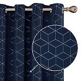 Deconovo Lot de 2 Motif Imprimé Rideaux Occultants Pas Chers Thermique Isolation à Oeillets pour Bureau Chambre 132x160cm Bleu Marine