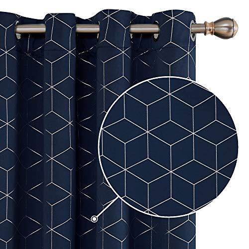 Deconovo Verdunkelungsvorhänge Ösen Vorhang Muster Wohnzimmer Thermogardinen Blickdicht 138x117 cm Dunkelblau 2er Set