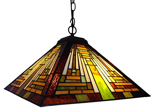 """Chloe Lighting CH231118G-DPD2 Tiffany-Style Mission 2-Light Ceiling Pendant Fixture with 16"""" Shade"""