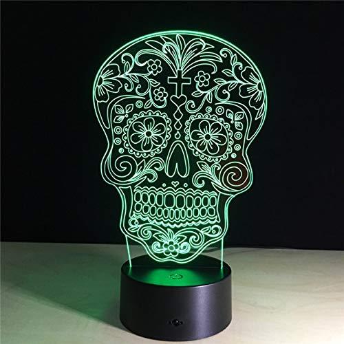Creativo cráneo cabeza de flor tibias cruzadas durmiendo 3D LED luz de noche lámpara de mesa mesita de noche decoración regalo de niños