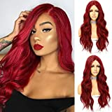Sapphirewigs Red T-part Lace Front Wigs for Women Fashion Glueless Long Wavy Wigs Lace Front Natural Looking Synthetic Heat Resist Fiber Red Wig