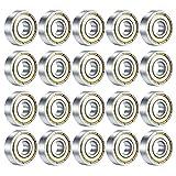 20PCS Skateboard Bearings, 608ZZ Double Shielded Ball Bearings, Small Bearing Replacement Parts