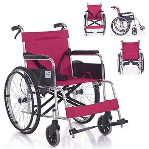 N/Z Equipo Diario Silla de Ruedas autopropulsada Plegable con Frenos Dobles Pedales Ajustables Manual para discapacitados/Ancianos Scooter de Empuje