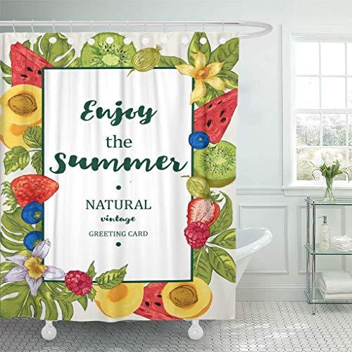 QYGA-3BU Duschvorhang Orange Tropical Summer exotische Früchte Wassermelone Aprikose Kiwi Vanille Duschvorhänge Sets mit Haken 60x72 Zoll
