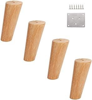 Furniture legs WYZQQ Patas de Muebles de Madera - Cama y Mesa y Silla sofá salón con Patas cambiantes Roble - Juego de 4 Piezas Vertical cónica Inclinada