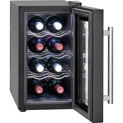 Profi Cook PC-GK 1163 Glastür-Getränke-Flaschen-Kühlschrank/EEK A+ / 21 L / 100 kWh/LED Innenraumbeleuchtung/Sensor-Touch-Steuerung/Bedienfeld mit LED-Display/Thermoelektrische Kühlung