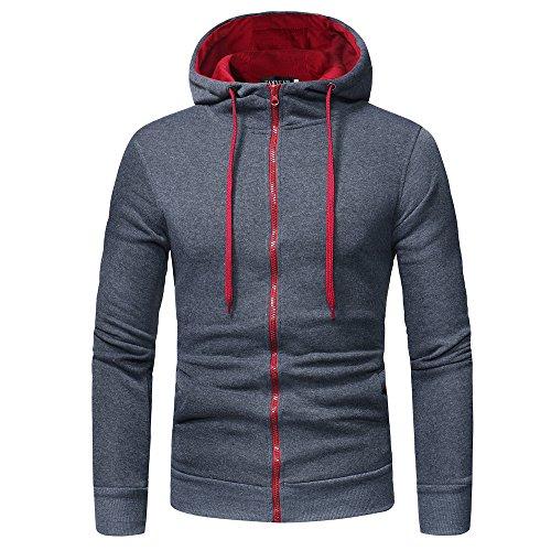 Hoodie Heren Lange Mouw Hooded Sweatshirt Effen Tops Jas Bovenkleding met Zakken