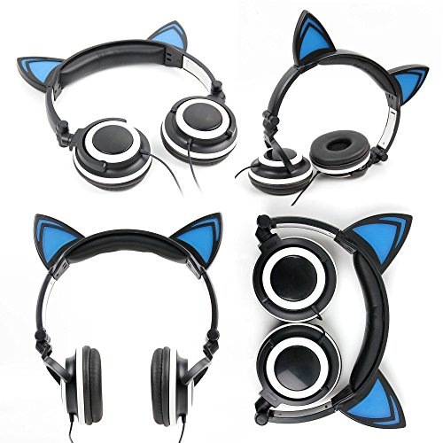 DURAGADGET Cat Headphones with Light Up Ears (in Black) - Compatible with The Leagoo Shark 1