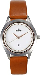 Titan Sparkle Leather Strap Analog Date Function Watch for Women