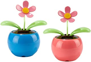 IFY Set of 2 Pink Blue Car Bee Happy Dancing Solar Flower
