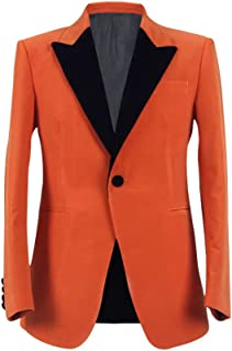 VOSTE Eggsy Costume Orange Jacket Tuxedo Blazer Halloween Cosplay Evening Party Suit Glasses