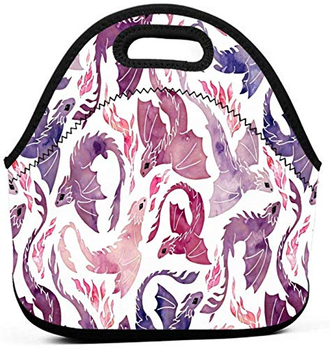 Dragon Galaxy Work School Picnic Insulated Lunch Bag Tote Reusable Lunch Box for Men Women Kids-Dragon Fire Pink &Amp Purple-One Size
