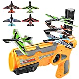 Airplane Toy,Bubble Catapult Plane Toy Airplane, Outdoor Toys,One-Click Ejection Model Foam Airplane Shooting Game ,Toy with 4pcs Glider Airplane Launcher Outdoor Toys for Kids Birthday Party.(Orange)