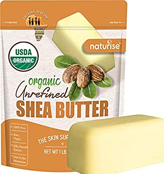 African Shea Butter Raw Organic - Unrefined Ivory 100% Pure - Natural Moisturizer for Hand Hair Skin and Body - Base For Homemade Body Butter Lotion and Soap - 1 Lb Bar By Naturise