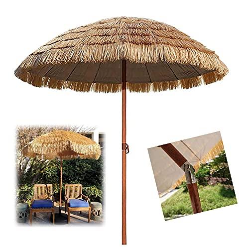 Sombrilla de Playa de Jardín de 1.8 M, Parasol de Patio Grandes, Parasole de Paja Hawaiana Al Aire Libre, Con 8 Costillas Fuertes, Color Natural, Ventilación y Protección Solar, Se Puede Inclinar