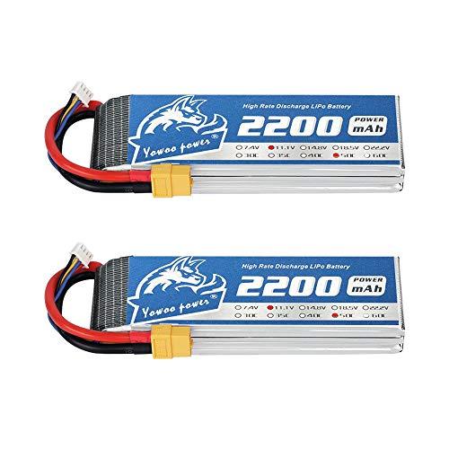 YOWOO 2 Pcs 11.1v 3S 2200mAh 50C Lipo Battery with XT60 Plug RC Battery for...