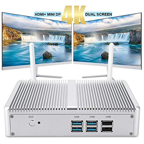 ASHATA Mini-PC H2-i5-5200U 8G + 512G Mini-PC-Host voor Intel Dual Core, Mini-Computer Windows 10 HD 4K HDMI VGA-Dual-Display, 1000 Mbit/s LAN, 2,4G/5G Dual Band WLAN, zilver