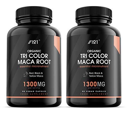 Organic Tri-Color Maca Root Capsules - 1300mg per Serving - Red, Black & Yellow Maca - Synergistic Formula, 90 Vegan Capsules (2 Pack)
