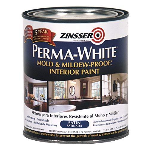 Zinsser 02704 Quart Satin Gloss Perma-White Mildew-Proof Bathroom Paint
