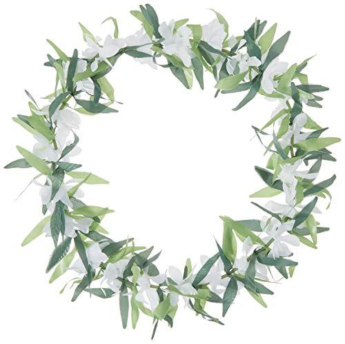 Amscan 310139 Hoja Verde con Flores de Seda Hawaiana Lei, plástico, Multicolor