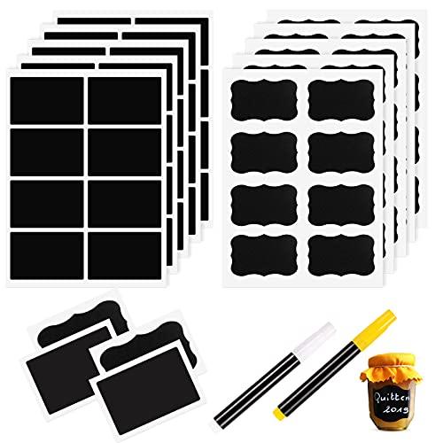 Eokeey Etiketten Selbstklebend,Eokeey 240Pcs Wasserdichte Tafelaufkleber mit 2 Kreidemarker,Ablösbare Universal-Aufkleber für Gläser, Küche Gewürzgläser, Marmeladen, Flaschen, Organisieren