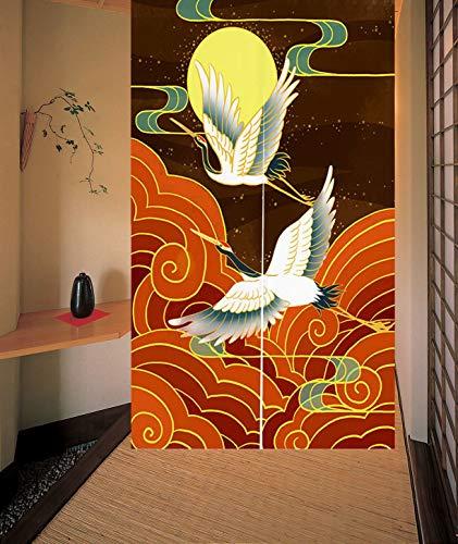 LIGICKY Japanischer Stil dick Leinen Noren Lang Vorhang Türvorhang Raumteiler Tapisserie für die Heimtextilien 85 x 120cm (Rotkronenkranich, Moon, Wolke)