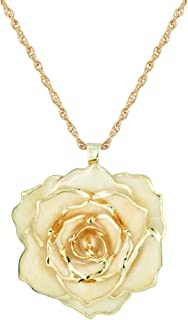 30mm Golden Necklace Chain with 24k Gold Dipped Real Rose Pendant Gift for Women