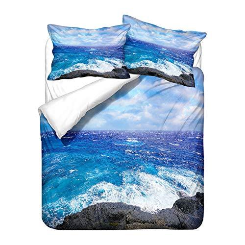 Ropa de Cama Playa de Verano 3D Cielo Azul Nubes Blancas Palmeras Isla Luna Surf Mar Olas de Agua...