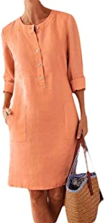 Howely Women Linen Casual Leisure Long-Sleeve Solid Color Oversized Dress