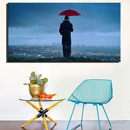 Moderne stad nacht scène decoratie foto hd groot formaat man met een paraplu poster woonkamer muur decoratie frameloze schilderij