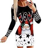 Mujer Otoño Sudaderas Vestido Largos Navidad de Fiesta de Noche Sexy Casual Manga Larga Cuello Redondo Camiseta Jersey Pullover 2021 Nueva Invierno Sudadera sin Capucha largo Slim Fit Vestidos