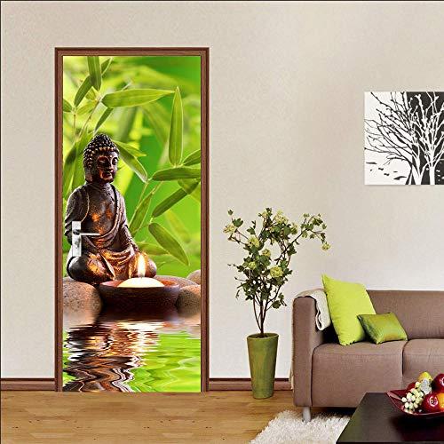 2 adesivi per porta, autoadesivi, in PVC, effetto 3D, zen per decorazione porta, arte fotografica, carta da parati Decalcomanie per la Decorazione Domestica, 77x200cm