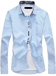 Energy Men's Regular Fit Printing Pocket Button Down Collared Dress Shirts