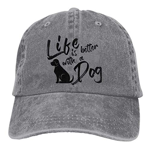 Hoswee Unisex Kappe/Baseballkappe, Life is Better with A Dog Cowboy Caps Adjustable Dad Baseball Hat Gray