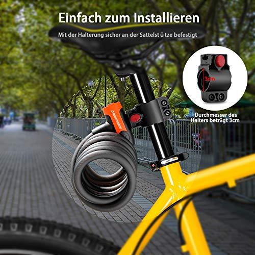 DreiWasser Fahrradschloss, Fahrrad Schloss 150cm/12cm mit Schlüssel (Schwarz) - 5