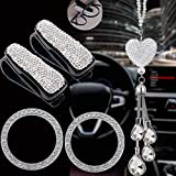 Dayutech 5 Pack Bling Car Accessories Set, Bling Car Rear View Mirror Charm, 2 Pack Glasses Holders for Car Sun Visor, 2 Pack Car Sticker Ring Emblem for Car Decorations Women Girls