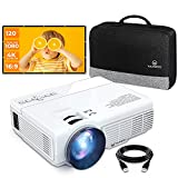 Mini Projector & 120in Screen, 1080P and 170'' Display Supported, Portable Movie Projector with 40,000 Hrs LED Lamp Life, Compatible with TV Stick, PS4, HDMI, VGA, TF, AV and USB -  WeView
