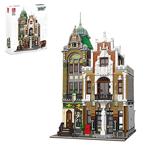 HDEI Modular Haus Bausteine, Postamt Architektur Groß Gebäude Modellbausatz 4560 Klemmbausteine Kompatibel mit Lego Stadthaus