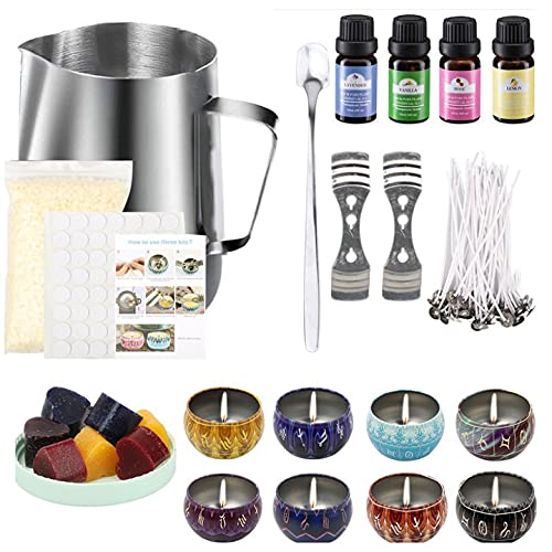 CZSMART Kerzenherstellung Kit, Erstellen Sie duftende Wachskerzen, Komplettes Anfängerset, Inklusive Sojawachs, Dose, Dochte, Dochthalter, Farbstoffe, Fassungsvermögen Kanne,...