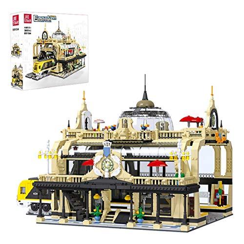 Lommer Conjunto de construcción de catedral de ferrocarril europeo moderno, de 3950 piezas, modelo de estación de tren con figuras, bloques de construcción compatibles con Lego Creator