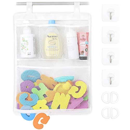 Bath Toy Organizer Multiple Ways to Hang, Bottom Zipper Bathtub Toy Storage Bag, Bathroom Toy Holder 14 x 20 Inches