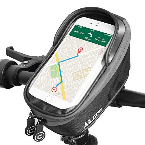 AILGOE Fahrrad Rahmentasche für 6.5-7 Zoll Handys Fahrrad Handytasche wasserdichte Rahmentasche mit TPU-Touchscreen für Fahrrad Handyhalter Fahrrad Geeignet (20 * 12 * 11)