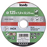 kwb 712112 AKKU-Top-Disco de Corte extrafino (125 x 1,0 mm, para Amoladora Angular de Acero Inoxidable y Metal, Orificio de 22,23 mm), 125x1,0