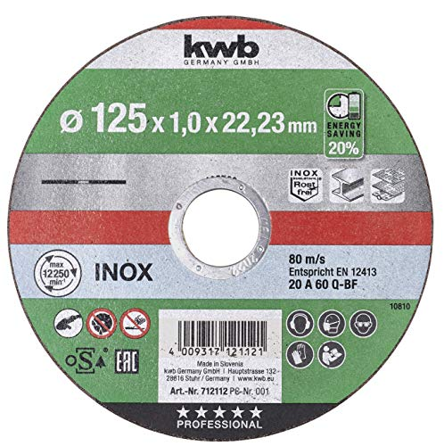 kwb 712112 - Disco da taglio a batteria extra sottile, 125 mm di velocità, 125 x 1,0 per smerigliatrice angolare, disco flessibile adatto per acciaio inox + metallo, foro 22,23 mm, 125 x 1,0